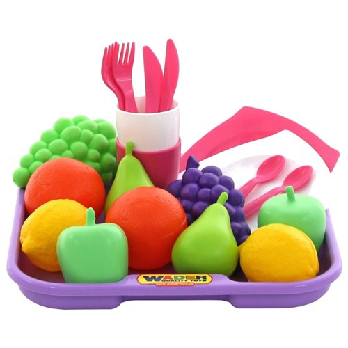 Набор продуктов с посудой Полесье №2 с подносом 46970 сиреневый/розовый/белый/зеленый
