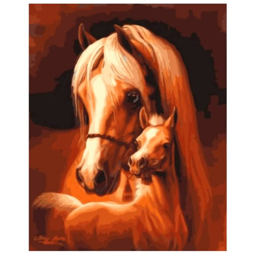 """Цветной Картина по номерам """"Лошадь и жеребёнок"""" 30х40 см (EX5832)"""