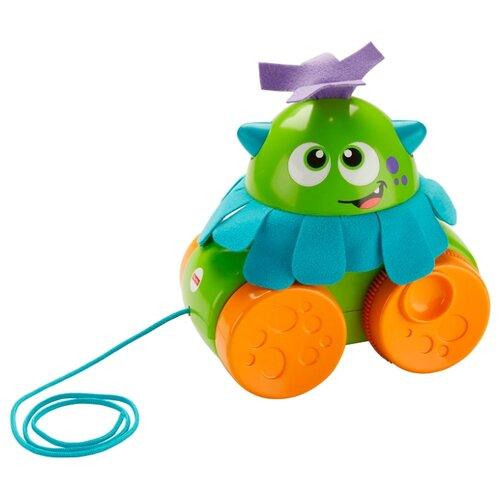 Каталка-игрушка Fisher-Price Монстрик (FHG01) со звуковыми эффектами зеленый/оранжевый/голубой, Каталки и качалки  - купить со скидкой