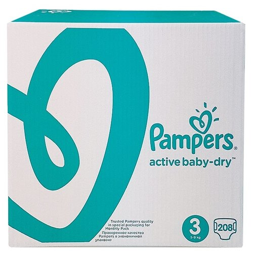 Pampers подгузники Active Baby-Dry 3 (5-9 кг) 208 шт. подгузники pampers active baby dry 5 11 16 кг 60 шт