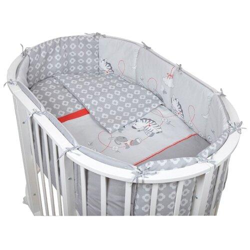 Pituso комплект для овальной кроватки Зебры (6 предметов) серыйПостельное белье и комплекты<br>