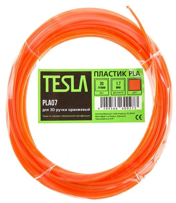 PLA пруток TESLA 1.70 мм оранжевый