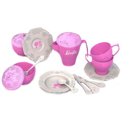 Купить Набор посуды Нордпласт Барби 636 розовый/белый, Игрушечная еда и посуда