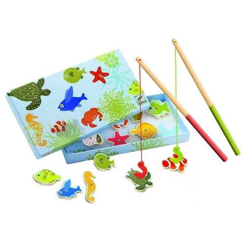 Рыбалка DJECO Тропическая голубой/зеленый игры для малышей djeco магнитная игра тропическая рыбалка