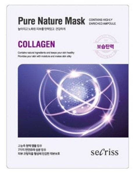 Secriss маска тканевая Pure Nature Mask Pack Collagen для упругости кожи с коллагеном