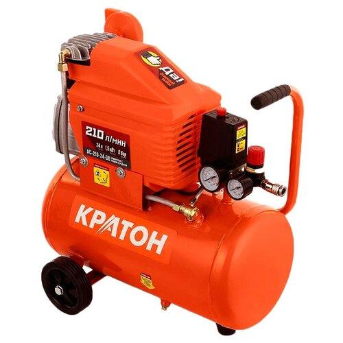 Компрессор масляный Кратон AC-210-24-DD, 24 л, 1.5 кВт компрессор масляный кратон ac 360 100 ddv 100 л 2 2 квт