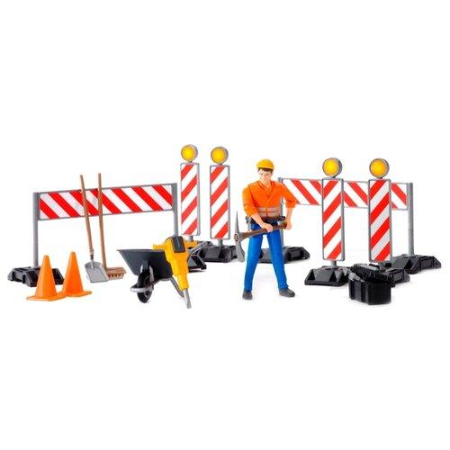 Купить Игровой набор Bruder знаки дорожных работ с фигуркой рабочего, Игровые наборы и фигурки