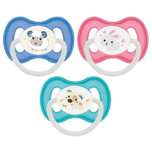 Купить Пустышка силиконовая анатомическая Canpol Babies Bunny & company 0-6 м (1 шт) синий/голубой/розовый, Пустышки и аксессуары