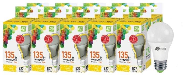 Упаковка светодиодных ламп 10 шт ASD LED-standard E27, A60, 15Вт, 3000К