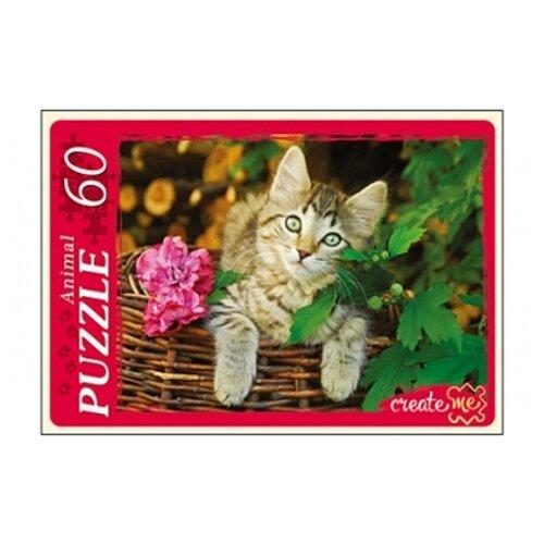 Фото - Пазл Рыжий кот Animal Кот в корзине (У60-5914), 60 дет. пазл рыжий кот причал и цветные дома кб1000 6884 1000 дет