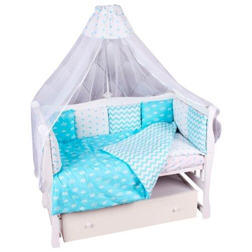 цена Amarobaby комплект в кроватку Royal baby (7 предметов) бирюзовый онлайн в 2017 году
