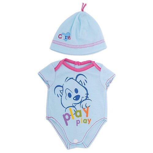 junfa toys комплект одежды для кукол blc11 белый синий Junfa toys Боди с шапочкой для кукол Baby Love BLC09 голубой