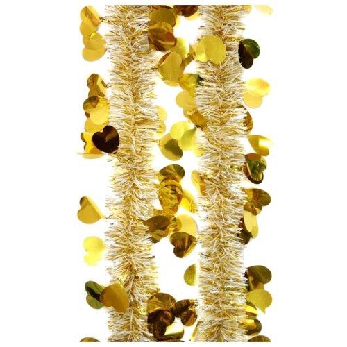 Мишура Феникс Present новогодняя с сердечками 200 х 6 см, золотой magic time мишура золотые листья 6 200 см