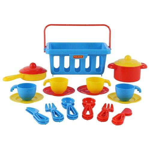 Набор посуды Полесье TOP chef с корзинкой №2 на 4 персоны 42651 синий/разноцветный полесье набор игрушечной посуды алиса на 4 персоны 58980 цвет в ассортименте
