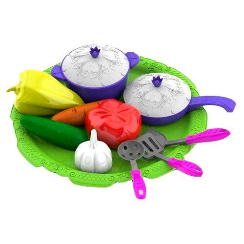 Набор продуктов с посудой Нордпласт Волшебная хозяюшка 624 зеленый/синий ролевые игры нордпласт набор волшебная хозяюшка 12 предметов
