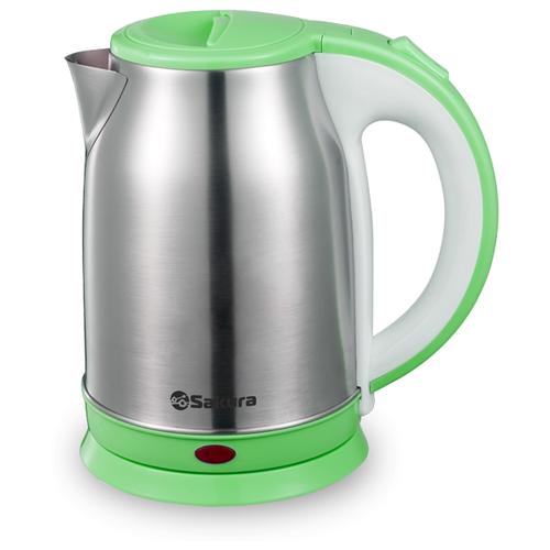 Чайник Sakura SA-2147, серебристый/зеленый чайник sakura sa 2343r