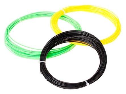 ABS-пластик ESUN 1.75 мм. для 3D ручек (черный, желтый, светло-зеленый), 10 метров каждого цвета