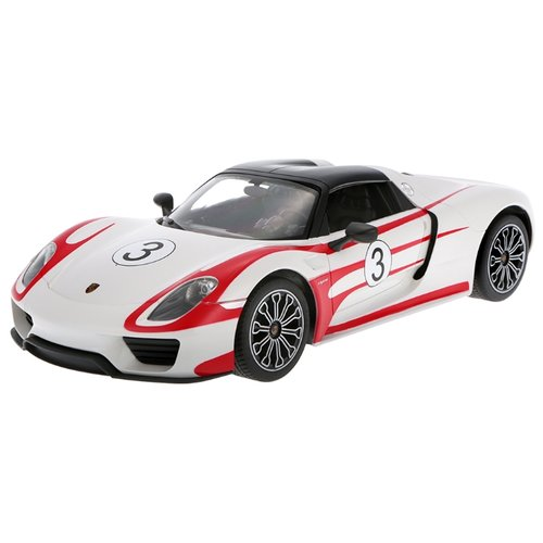 Купить Легковой автомобиль Rastar Porsche 918 Spyder (70710) 1:14 33 см белый/красный, Радиоуправляемые игрушки