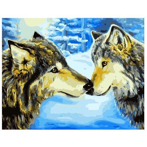 Paintboy Картина по номерам Волки в зимнем лесу 40х50 см (GX7194) картина по номерам 40х50 см леопард в лесу gx8340