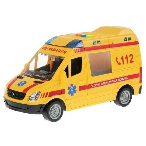 Микроавтобус ТЕХНОПАРК Mercedes-Benz Sprinter реанимация (SPRINTER-22PL-REAN), 22 см, желтый микроавтобус технопарк mercedes benz sprinter реанимация sprinter 22pl rean 22 см желтый
