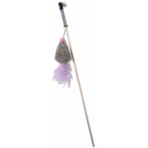 Махалка мышь с мятой серый мех с хвостом перо на веревке gosi этикетка флажок