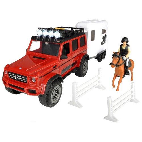 dickie toys набор dickie toys команда спасения sos Набор машин Dickie Toys Playlife Horse Trailer (3838002) 1:24, красный/белый