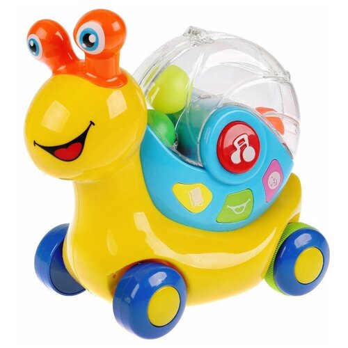 Купить Развивающая игрушка Умка Развивающая музыкальная улитка с интерактивным свистком, желтый/синий, Развивающие игрушки
