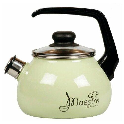 СтальЭмаль Чайник Maestro со свистком 1RC12, 3 л, чёрный с зерном / салатный стальэмаль чайник bon appetit со свистком 1rc12 3 л чёрный с зерном вишнёвый