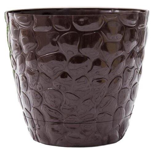 Кашпо РОССПЛАСТ «Камешки» с поддоном №4 , 8 л шоколадный по цене 478