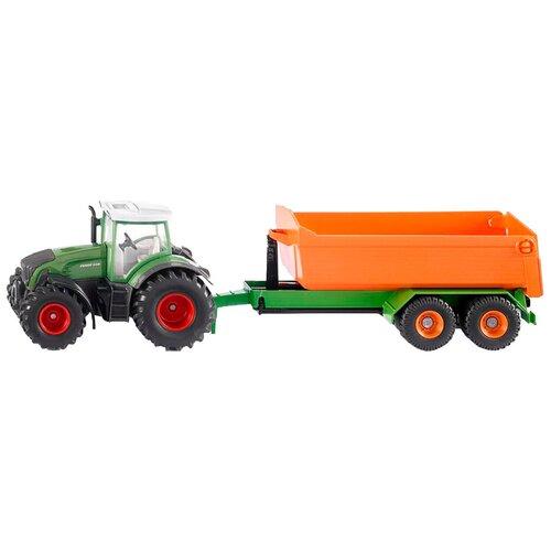 трактор siku с прицепом кузовом 1858 1 87 22 6 см желтый Трактор Siku Fendt с крюковым прицепом-кузовом (1989) 1:50, 34 см, зеленый/оранжевый