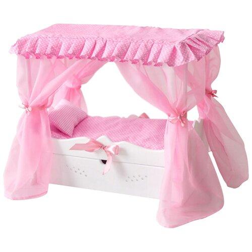 PAREMO Кровать для кукол с выдвижным ящиком с постельным бельем и балдахином (PFD120-61) белый