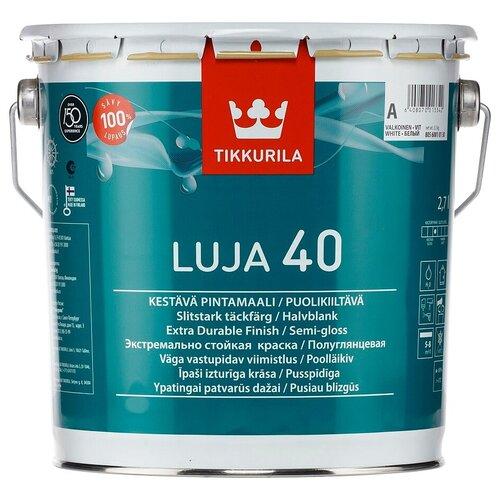 Фото - Краска акриловая Tikkurila Luja 40 полуглянцевая белый 2.7 л краска акриловая tikkurila luja 40 полуглянцевая прозрачный 9 л