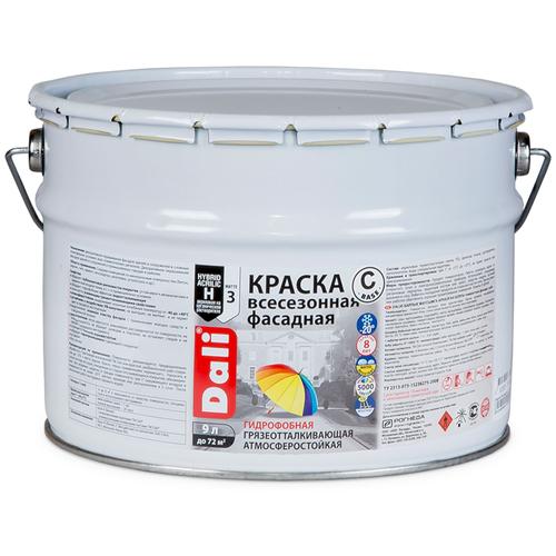 Фото - Краска акриловая DALI Фасадная всесезонная влагостойкая моющаяся матовая бесцветный 9 л краска акриловая dali для кухни и ванной влагостойкая моющаяся матовая белый 5 л