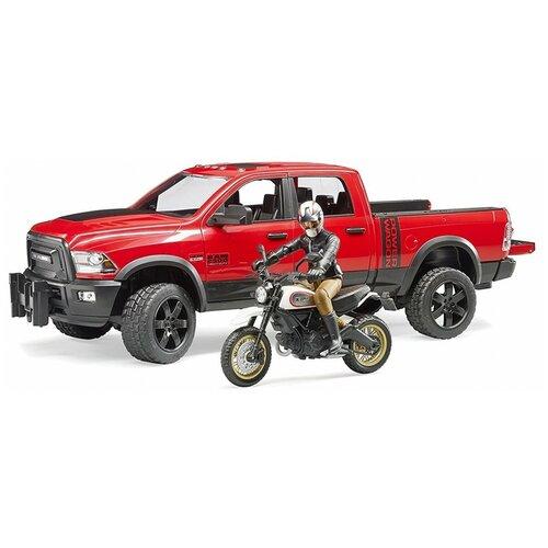 Купить Набор техники Bruder внедорожник Ram с мотоциклом Ducati (02-502) 1:16, красный/серый/черный, Машинки и техника