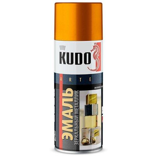 Эмаль KUDO универсальная зеркальный металлик Mirror finish, зеркальное золото, 520 мл