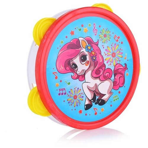 Купить Рыжий кот бубен большой Пони И-7901 голубой/розовый, Детские музыкальные инструменты