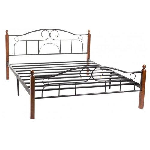 Фото - Кровать TetChair AT-808 двуспальная, спальное место (ДхШ): 200х140 см, цвет: коричневый/черный кровать tetchair at 803 двуспальная размер дхш 210х164 5 см каркас массив дерева цвет красный дуб черный