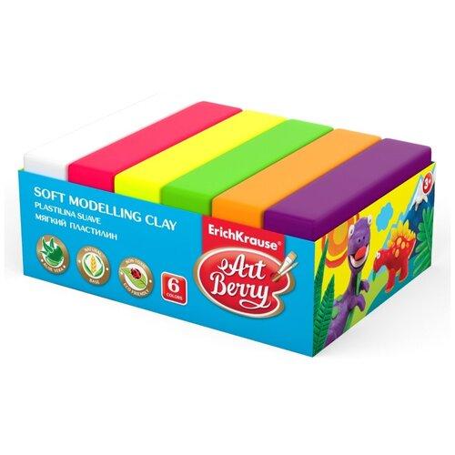 Купить Пластилин ErichKrause Artberry с Алоэ Вера neon 6 цветов/300г (41784), Пластилин и масса для лепки