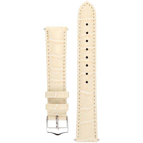 Элегантный ремешок Tropico для часов из кожи теленка с фактурой под аллигатора Signature (молочный) 22 mm (ширина 22 мм, длина 20см)