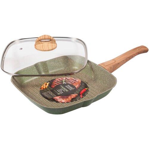 Сковорода-гриль Panairo OliverStone MAX O-27-G-S-K, 27х27 см, с крышкой, съемная ручка, оливковый сотейник panairo oliverstone max 26см o 26 s k