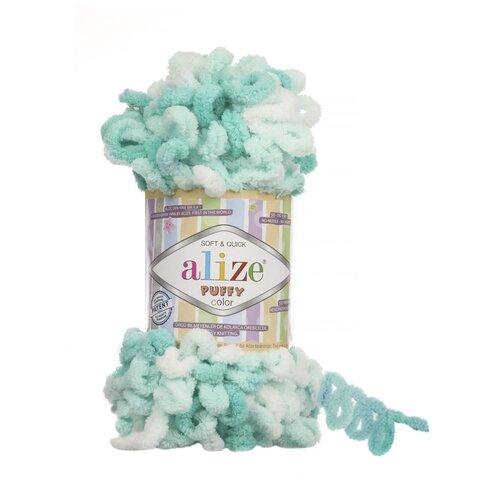 Пряжа для вязания Alize Puffy Color, цвет 5920, 9м 100гр, 5 мотков