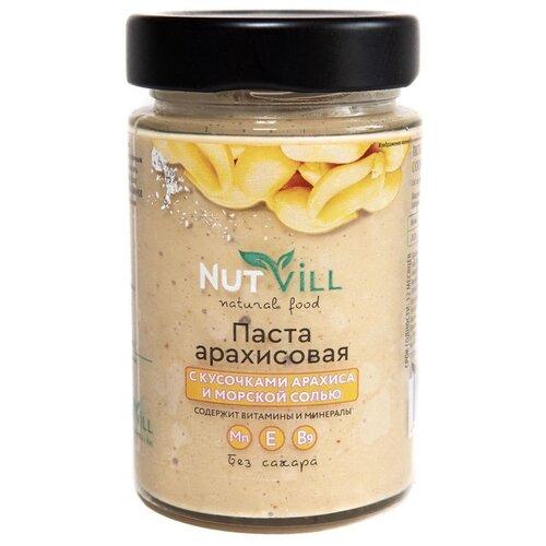 Паста арахисовая с кусочками арахиса и морской солью NutVill, 180 г nattys арахисовая паста chili с перцем чили и морской солью 325 г