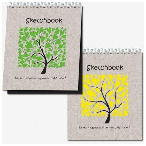 Купить Скетчбук Sketchbook Black 20л., 170х200, черная бумага 140 г/м, обл.выб.лак, Полином, Альбомы для рисования