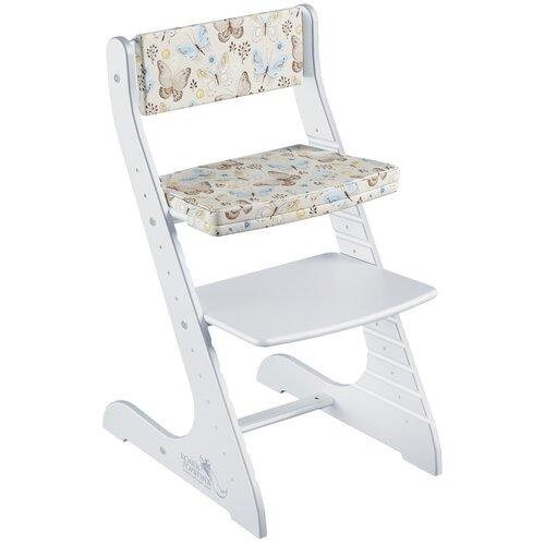 Фото - Комплект растущий стул и подушки Конёк Горбунёк СТАНДАРТ, цвет Белый/Бабочки стульчики для кормления конёк горбунёк цветной однотонный