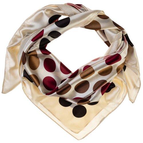 Шелковый платок на шею/Платок шелковый на голову/женский/Шейный шелковый платок/стильный/модный /21kdgPL902301-2vr белый,бордовый/Vittorio Richi/80% шелк,20% полиэстер/90x90