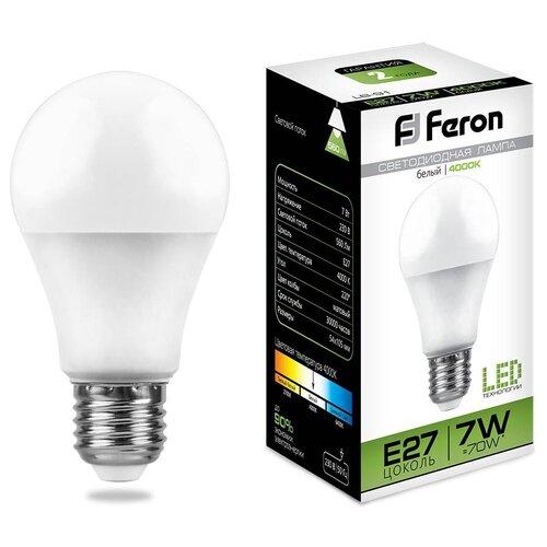 Фото - Лампа светодиодная Feron LB-91 Шар E27 7W 4000K (упаковка 10 шт) лампа светодиодная feron lb 65 25822 e27 e40 70w 4000k цилиндр матовая