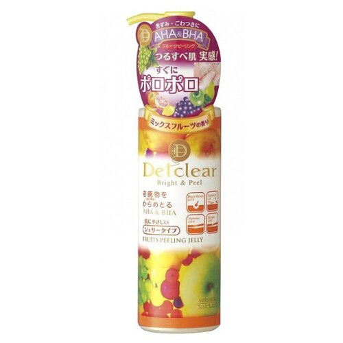 Meishoku пилинг-гель для лица Detclear Fruits peeling jelly с AHA и BHA и эффектом сильного скатывания 180 мл meishoku разогревающий и очищающий крем гель с aha и bha кислотами 200 г