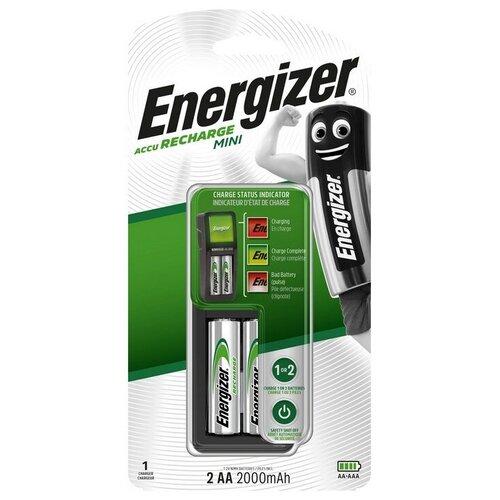 Зарядное устройство Energizer Mini: 1/2 слота AA/AAA + 2 акк. AA 2000mAh