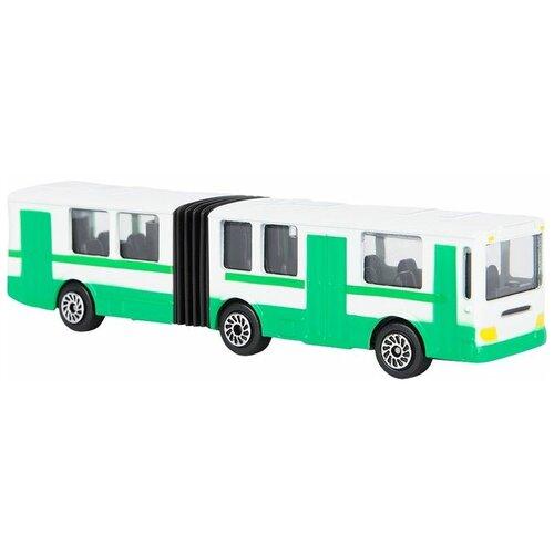 Фото - Автобус ТЕХНОПАРК с гармошкой (SB-15-34-B), 12 см, белый/зеленый автобус технопарк рейсовый sb 16 88 blc 7 5 см желтый