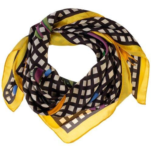 Шелковый платок на шею/Платок шелковый на голову/женский/Шейный шелковый платок/стильный/модный /21kdg70951101-4vr желтый,коричневый/Vittorio Richi/80% шелк,20% полиэстер/70x70